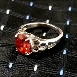 New stainless steel ring with red color CZ 8